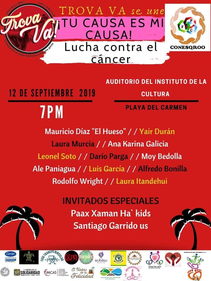 """Anuncian el festival """"Trova Va"""" a favor de mujeres con cáncer en Playa del Carmen"""