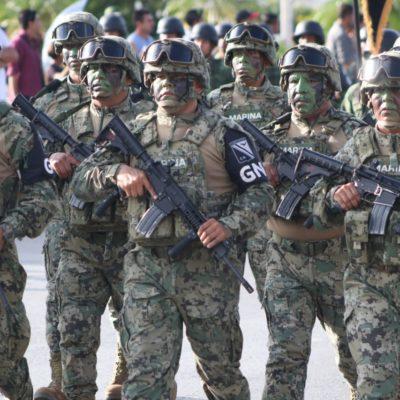 ENCABEZA GUARDIA NACIONAL DESFILE EN CANCÚN: Continúan los festejos patrios por el 209 aniversario del inicio de la Independencia