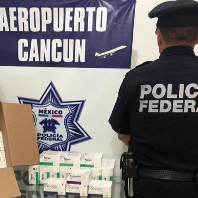 Aseguran en Cancún paquete con 6,900 pastillas de medicamentos controlados