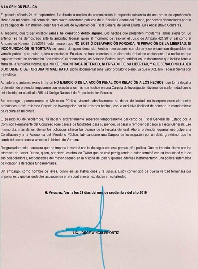 Recomienda Javier Duarte 'paciencia y prudencia' a exfiscal de Veracruz, ahora prófugo
