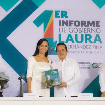 PUERTO MORELOS ALCANZA UNA AUTONOMÍA FINANCIERA SOSTENIBLE: Rinde Laura Fernández primer informe y tercero de un proyecto de 5 años