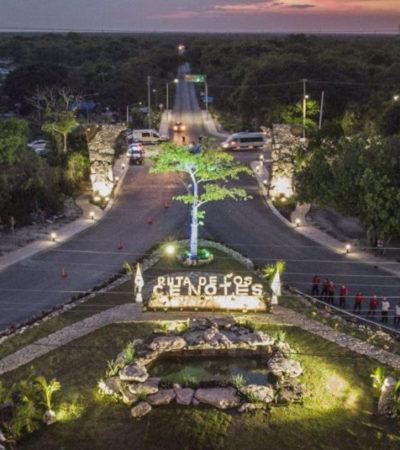 Inaugura Laura Fernández la nueva imagen de entrada a la Ruta de los Cenotes