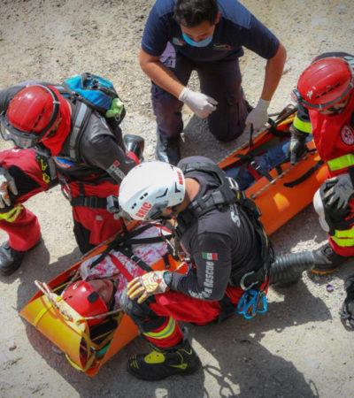 Conmemoran con simulacro el Día Nacional de Protección Civil en Puerto Morelos