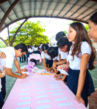 Realizan taller en escuelas para concientizar sobre embarazos en adolescentes en Isla Mujeres