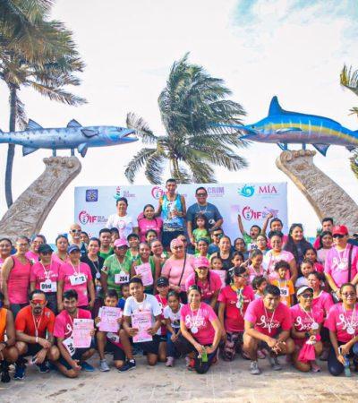 Realizan carrera rosa contra el cáncer de mama en Isla Mujeres