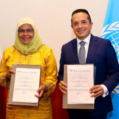 FIRMA QR ACUERDO CON ONU-HABITAT: Tendrá el Estado asistencia técnica para el desarrollo e implementación de proyectos estratégicos como el Tren Maya, el Parque de la Equidad y el Puente Vehicular Nichupté