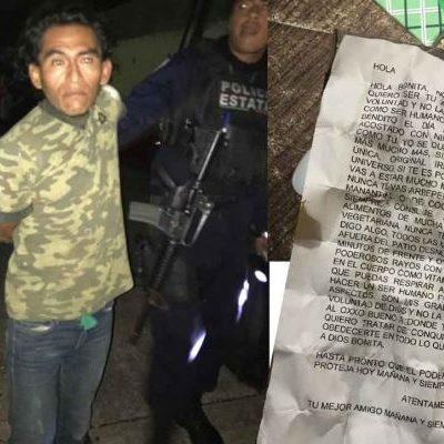 Detienen a acosador en Minatitlán; decía ser virgen en carta a su víctima