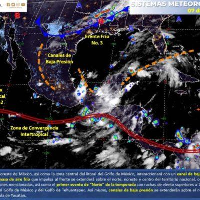 PRONÓSTICO DEL CLIMA: Dos canales de baja presión sobre la Península de Yucatán favorecen la formación de nublados y tormentas en QR