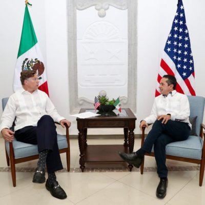REUNIÓN EN CANCÚN: Recibe Gobernador de Quintana Roo al Embajador de EU, Christopher Landau