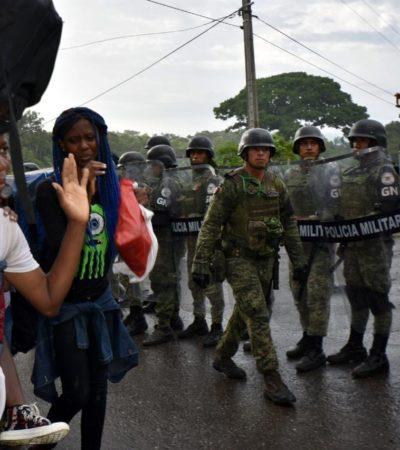 Frena Guardia Nacional a caravana de migrantes en Chiapas