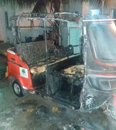 Incendian mototaxi con bombas molotov en Puerto Aventuras