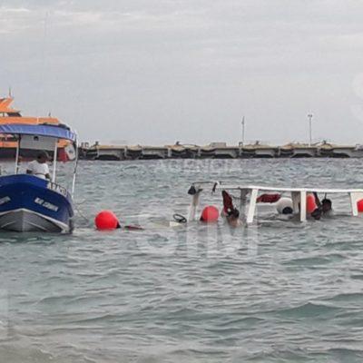 Embarcación turística se hunde por fallas frente a muelle de Cozumel