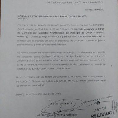 Dan trámite a renuncia de contralor de Othón P. Blanco