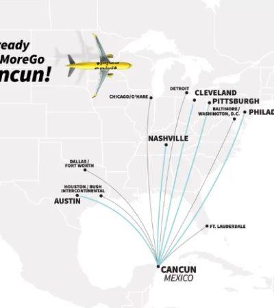 Anuncia Spirit nuevos vuelos desde EU hacia Cancún a partir de febrero de 2020