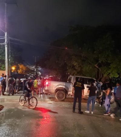 Ejecutan a un hombre en un vehículo en la Región 236 de Cancún; un menor de 16 años, herido por un rozón de bala