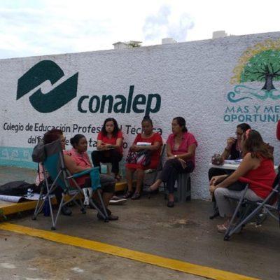 Por segundo día maestros de Conalep continúan con paro escalonado en planteles de Cancún ante falta de diálogo con autoridades educativas