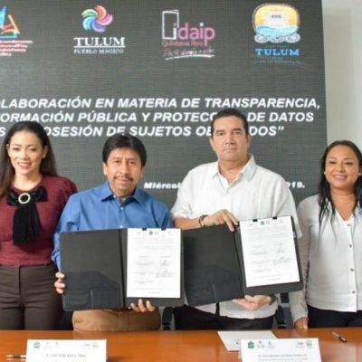 Ayuntamiento de Tulum firma Convenio con el Instituto de Acceso a la Información