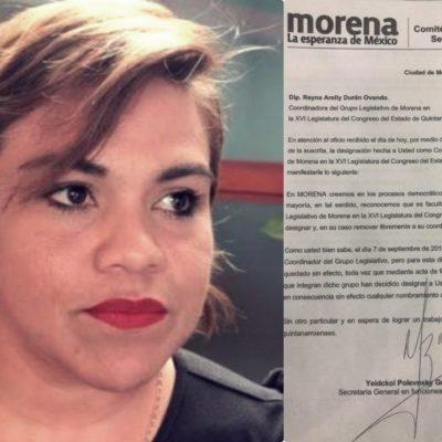DOCUMENTO | Oficializan nombramiento de Reyna Durán como coordinadora de la bancada de Morena