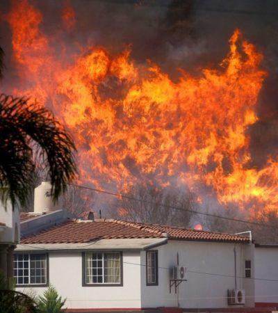 Deja dos muertos, dos desaparecidos y 60 casas destruidas voraz incendio en Baja California