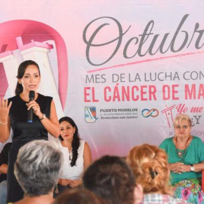 """Continúan las actividades en la campaña """"Juntas Somos Vida"""" durante el mes de la lucha contra el cáncer de mama en Puerto Morelos"""
