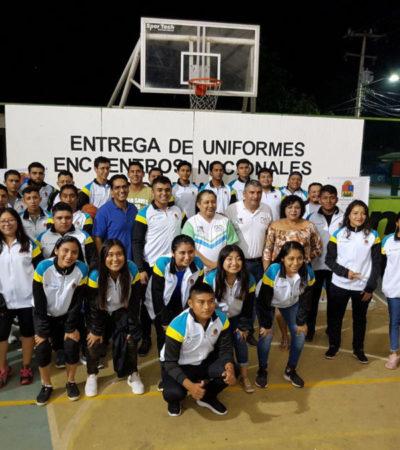 Entregan uniformes a atletas de Leona Vicario que representarán a QR en el Encuentro Nacional Deportivo Indígena 2019 en Chiapas