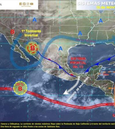 Por frente frío 12 persistirán las lluvias, viento fresco y descenso de temperatura en QR