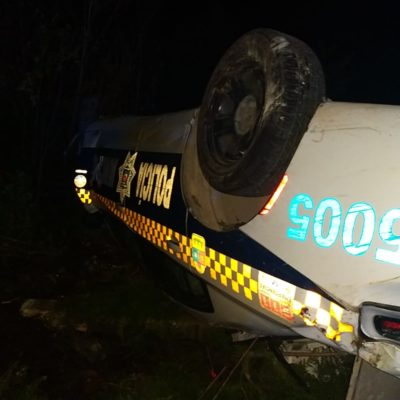SE VUELCA PATRULLA EN CANCÚN: Saldo de un herido en aparatoso accidente por Gas Auto