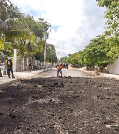 Implementan programa emergente de reparación de calles afectadas por lluvias en Tulum