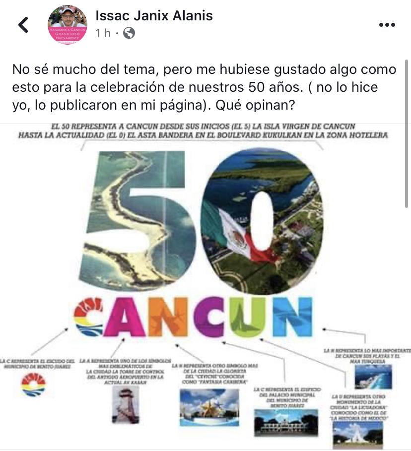 """""""NO SÉ MUCHO DEL TEMA, PERO…"""": Se monta regidor en la polémica y sugiere otro logo para celebrar los 50 años de Cancún"""