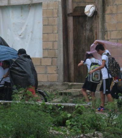 Lluvias provocadas por el frente frío 12 generan 80% de ausentismo escolar en Cancún