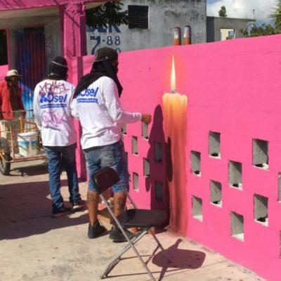 Embellecen artistas la fachada del panteón de la Región 91 de Cancún