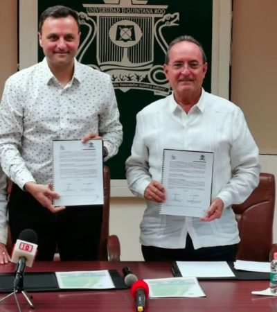 FIRMAN CONVENIO EN CHETUMAL: Participarán estudiantes de la Uqroo en apoyo de la XV Cumbre Mundial de Comunicación Política que se realizará en Cancún