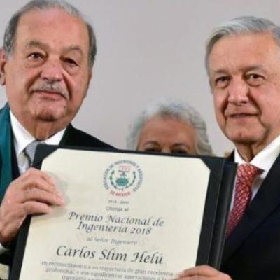 Entrega AMLO premios nacionales de ingeniería a Carlos Slim y de arquitectura a Joaquín Álvarez