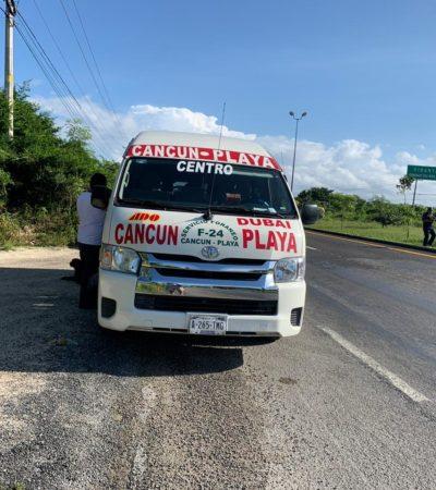OPERATIVO EN LA CARRETERA: Sujeto armado asalta una van de la ruta Cancún-Playa y huye con una turista como rehén