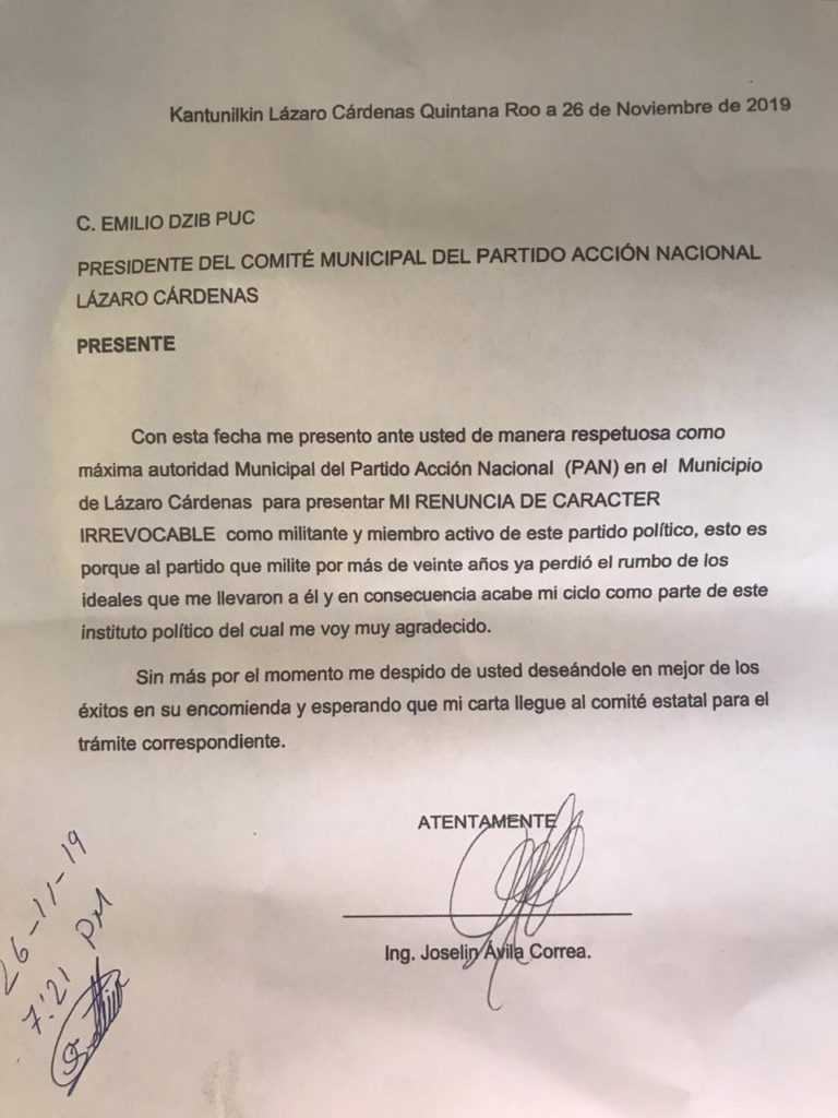 Renuncia a su militancia Joselín Ávila Correa, considerado un histórico de Acción Nacional en Quintana Roo