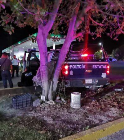 Se accidenta patrullero en persecución policiaca en Playa