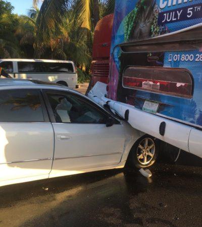 Accidente en Zona Hotelera de Cancún deja siete lesionados