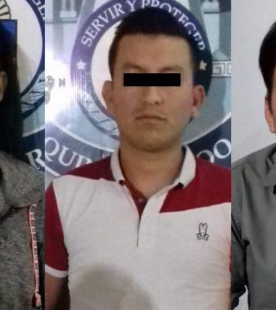 Detienen a dos hombres y una mujer por posesión de droga y cartuchos en la Sm 39 de Cancún