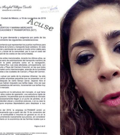 Pide senadora Marybel Villegas a la SCT investigar incremento de tarifas de navieras en la ruta Playa-Cozumel