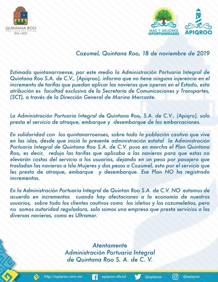 AUMENTO DE TARIFAS DE ULTRAMAR SE GESTÓ A NIVEL FEDERAL: Autorizar incremento de precios a navieras, facultad exclusiva de la SCT