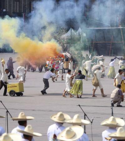 VIDEO | Escenifican batalla de la Revolución en el Zócalo capitalino