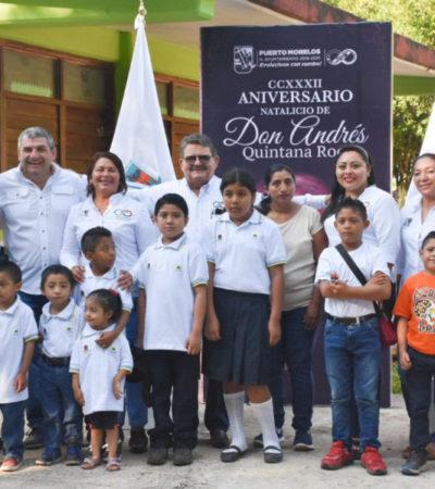 Conmemoran el 232 aniversario del natalicio de Andrés Quintana Roo en Puerto Morelos