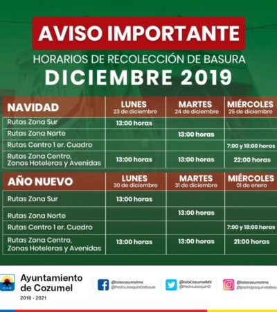 Modificará PASA horario de recolección de basura para que trabajadores también puedan disfrutar de los festejos decembrinos en Cozumel