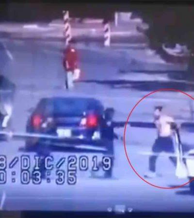¿ESPERABA ABRAZOS?, LE DIERON BALAZOS: Mata policía a un presunto ladrón que intentó atacarlo con un cuchillo | VIDEO