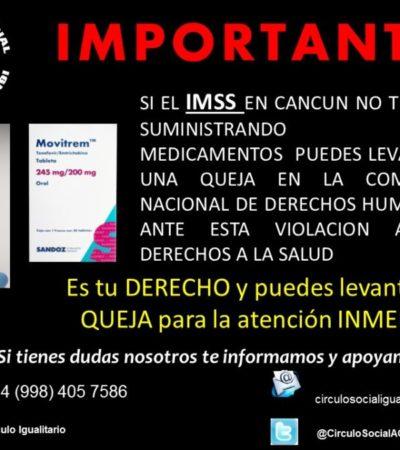 Denuncian organizaciones civiles falta de medicamentos para personas con VIH en la clínica del IMSS en Cancún