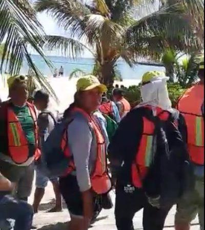 Protestan trabajadores de Grupo Ar-co por incumplimiento de pago y finiquito en Playa del Carmen