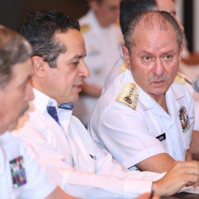 CONFIRMA SEMAR 12 BARCOS PARA RECOLECTAR SARGAZO: Reunión del Almirante con Gobernador y Alcaldes para afinar estrategia para contener recale del alga en QR