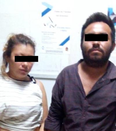 Detienen a una pareja por acosar sexualmente y agredir a menor de edad en la Sm 107 de Cancún