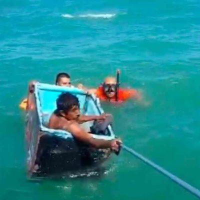 Rescatan a dos náufragos que sobrevivieron dentro de una nevera en costas de Tabasco