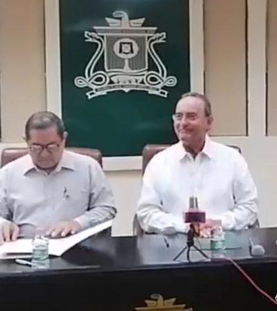 Logra Sauqroo concretar firma de contrato colectivo de trabajo con Francisco López Mena